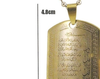 Gold Plated Muslim 4 QULS stainless steel Pendant with Chain