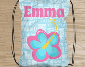 Personalized Drawstring Backpack - Hibiscus Backpack for Girls - Girl's Beach Bag - Tropical Flower Cinch Sack - Swim Bag