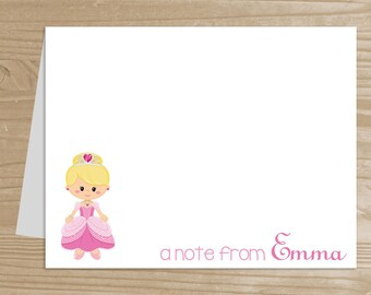 Personalized Kids' Note Cards - Set of 10 Princess Notecards for Girls - Folded Note Cards with Envelopes - Custom Pink Princess Notecards