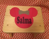 Kids mouse ear wooden stool-boy/girl with name personalization customize colors