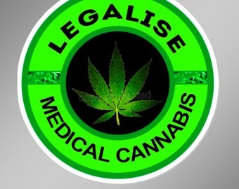 Legalise Medical cannabis vinyl decal / bumper sticker.  Approximately 75 mm across ( 3 inches )