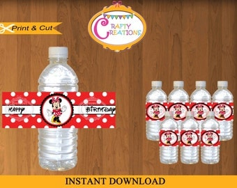 Printable Red Minnie Mouse WATER BOTTLE LABELS - instant Download -Print Your Own - Crafty Creations