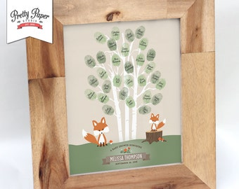 Thumbprint Tree Guestbook - Woodland Baby Shower // Fox Gender Neutral Baby Shower Decor // Printable BS03