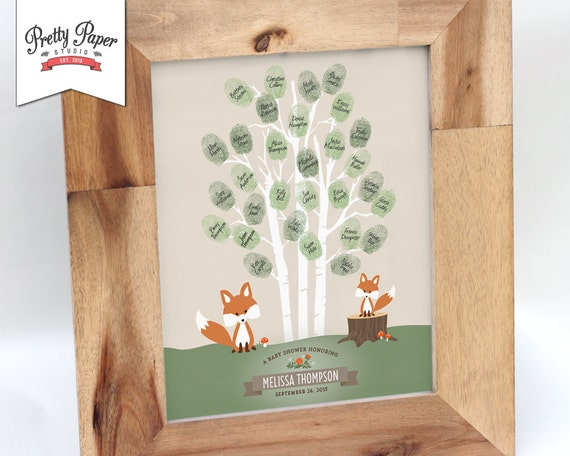 Thumbprint tree guestbook woodland baby shower fox for Baby shower tree decoration