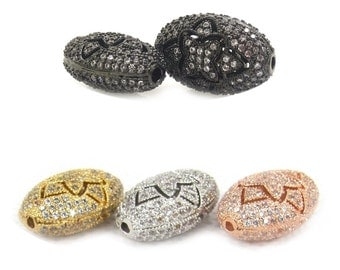 DIY Jewelry Spacer Beads Finding,Oval,CZ Micro Pave Bead,Brass Micro Pave Cubic Zirconia Hollow Pentagon Metal Beads,7mm*11mm*17mm,2Pcs