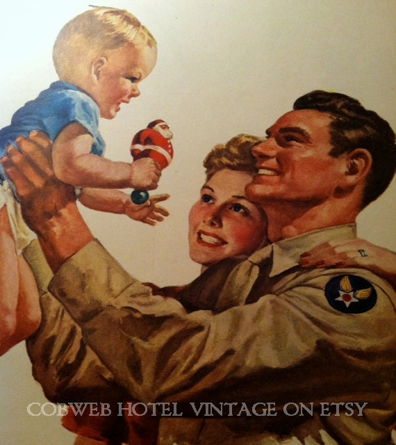 Vintage WWII Army Air Corps American Army Family Aviation Flyer Home for Christmas Vintage Military Army Pilot WWII Illustration
