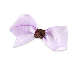 cute lilac and brown bow,  small hair bow, lilac hair clip,tiny bow