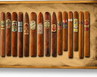 Cigar Sampler Painting on Stretched Canvas