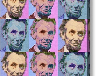Abe Lincoln Smiles Repeat 1 on Stretched Canvas
