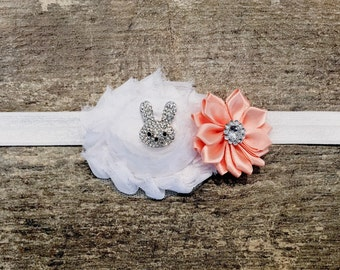 DESIGN Your OWN Easter Bunny Baby Headband/Easter Bunny Headband with Rhinestone Easter Bunny/CHOOSE Flower Colors/Easter Headband
