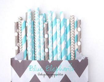 Baby Blue and Gray Straws -BLUE paper straw multipack -baby boy shower -blue wedding decor, gray chevron straw, light blue damask, polkadots