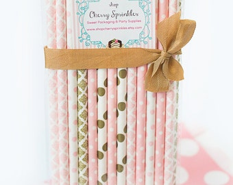 PINK TUTUS -Party Supplies -Pinks and Golds  PINK Paper Straws for Baby Girl Showers, Weddings or Bridal Showers Gold Straws