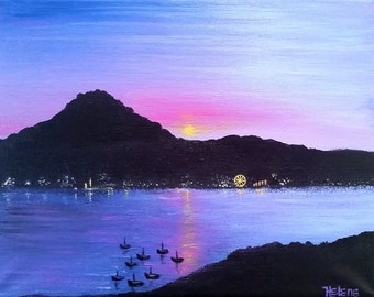 "14"" x 11"" Original Painting, Lake Lucerne, Switzerland Acrylic Painting on Canvas, Ready to Hang"