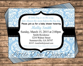 Personalized Blue and Black Damask Baby Shower Invitation - Printable Digital File