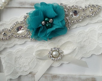 Wedding Garter Set, Bridal Garter Set, Vintage Wedding, Lace Garter, Turquoise Garter Set, White Bridal Garter - Style 150