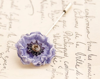 Purple anemone lampwork brooch, glass flower brooch, stick pin, lavender brooch, lilac brooch, nature brooch, wind flower blossom brooch