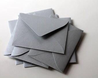 25 Mini Metallic Silver Envelopes - 2.6875 x 3.6875 inches  - Guest Book Envelopes, Favor Envelopes, Placecard Envelopes