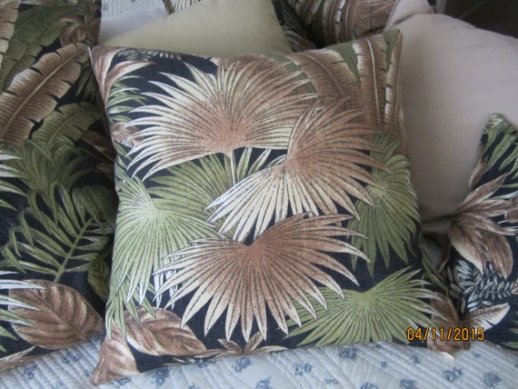 REDUCED!!!  Botanical print island palms Bahamian Breeze pillows in assorted sizes