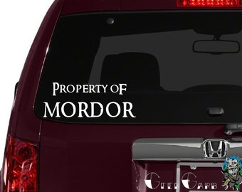 Property of Mordor - Lord of the Rings inspired Car Decal - Macbook Decal - Laptop Decals