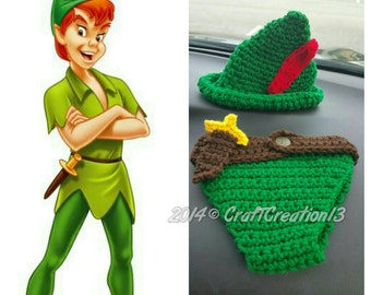 Peter Pan Baby Hat and Diaper Cover