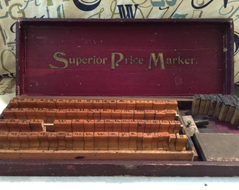 Antique Superior Price Marker Rubber Stamp Set With Wooden Case, 86 Stamps