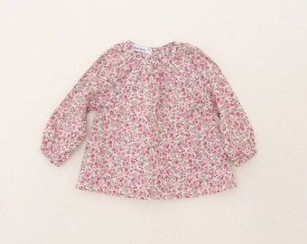 Purple floral long sleeve girl's blouse
