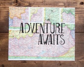 """Kentucky Map Print, Adventure Awaits, Great Travel Gift, 8"""" x 10"""" Letterpress Print"""