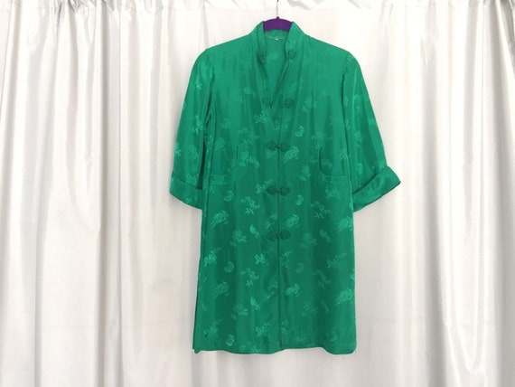 Vintage green shirt silk robe kimono women's by ...