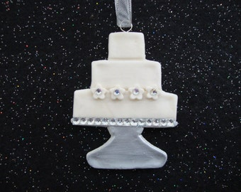 Personalized Beautiful Wedding Cake ornament/favor decoration handmade Salt dough ornaments by Cookiecuttercuties