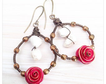 Red rose wire wrapped hoops - pearl and rose earrings- Christmas rose earrings- polymer clay earrings
