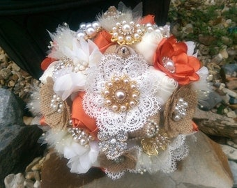 Custom Rustic Burlap and Lace Brooch Bouquet - Orange & Ivory, OR YOUR COLORS, Orange Brooch Bouquet, Orange Burlap Bouquet, Orange Bouquet