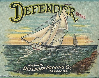 Defender Brand Tomatoes Vintage Can Label Defender Packing Co. Trappe, Maryland  Sailing Ship
