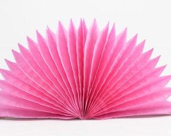 35cm PINK PAPER FAN - Pink Tissue Paper Paper Fan / Medallion Lantern (35cm / Approx 14 Inch Diameter)
