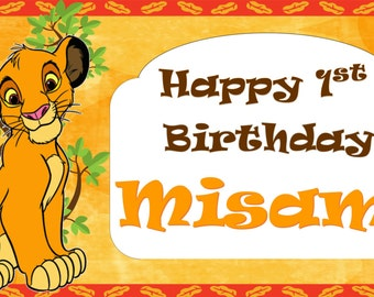 Lion King Birthday Banner, Lion King Printable Banner, Digital File Birthday Banner