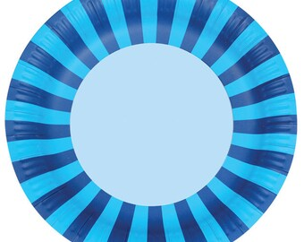 Sherbert Blue Stripe Paper Plates