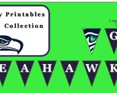 Instant Download Large Banner Only SEATTLE SEAHAWKS Party Decoration, Seattle Seahawks Party Printables, Seattle Seahawks Party Package