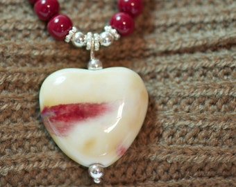 Cranberry Color Glass Pearl & Ceramic Heart Necklace and Earrings