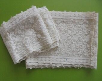 Antique Lace Flounces / Trims x Two - Schiffli Lace ?