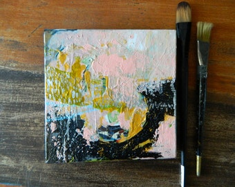 Abstract Landscape I, Original mixed media collage acrylic painting, pale pink, blue, black, texture, small canvas, by Stacey Fletcher.