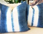 Handwoven Vintage Hemp Hmong Indigo Textile Pillow Cover 21x21