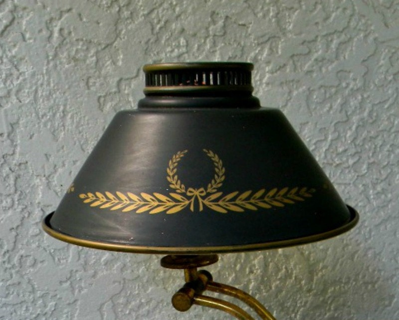 Vintage Antique Federal Toleware Lamp Shade Metal Tin Black