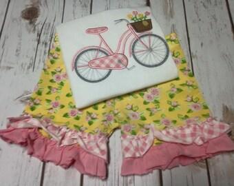 M2M Matilda Jane Sunny Garland Shorties, Bicycle appliqued shirt.
