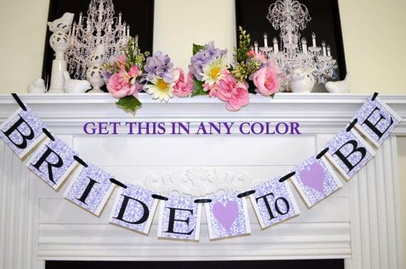 bride to be banner bridal shower decor decorations purple bridal shower banner