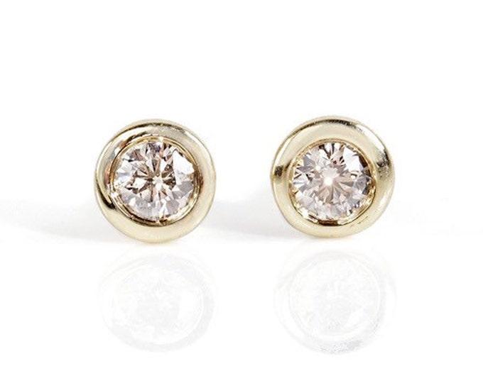 1/2 carat Gold Diamond Earrings-14K Yellow Gold Earrings-Stud Earrings-Women Jewelry-Solitaire diamond earrings-Birthday present-For her