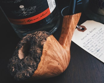 Handmade Briar Plateau Churchwarden Tobacco Pipe (large)