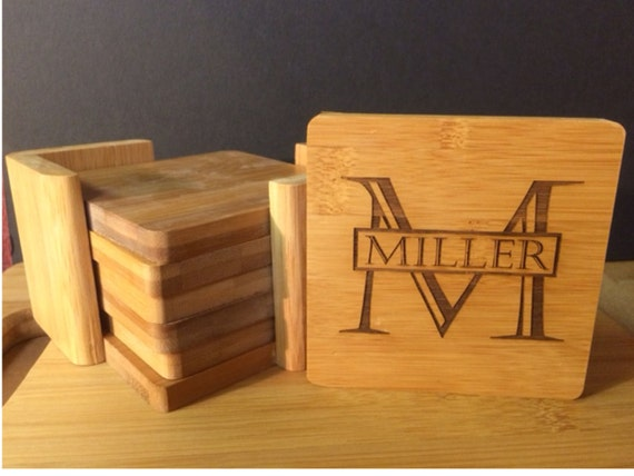 6 Coasters And A Holder Personalized Bamboo Coaster Set