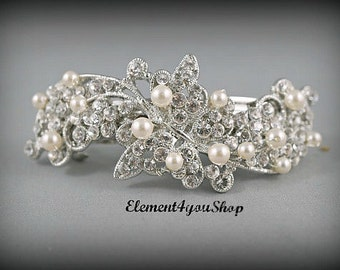 Bridal barrette Rhinestone hair barrette Wedding silver clip Bride hair piece Wedding head piece Bridal rhinestone up do Wedding headpiece