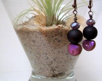 Velvet Glass & AB Crystal Drop Earrings