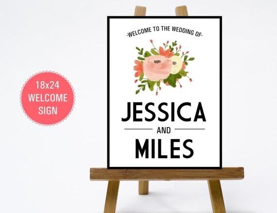 PRINTABLE 18x24 Wedding Welcome Sign - Print Poster Board - Modern ...