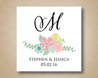 Large Wedding Favor Sticker Cake Box Labels Monogram Floral Laurel Design White Square Sticker Label Personalized Wedding Stickers